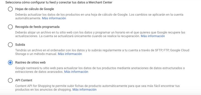 configuracion del feed google merchant